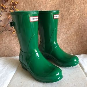 Hunter Original Short Gloss Green Rain Boots 6